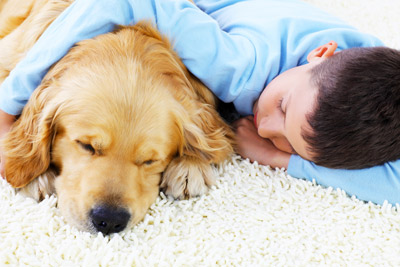 Boy lying on soft carpet with puppy